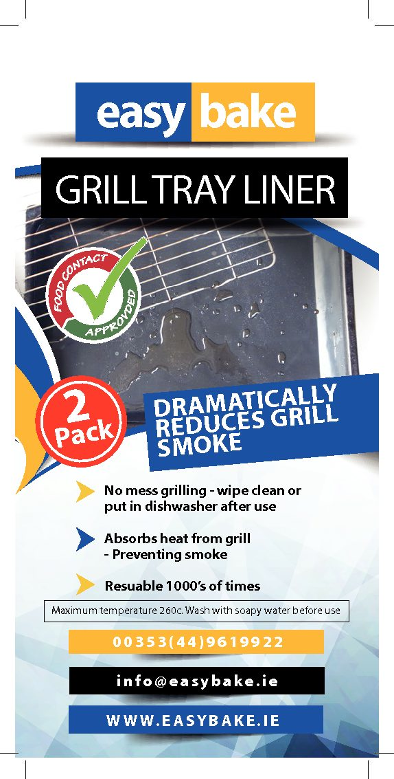 Teflon Grill Tray Liner Black (Large Grill Tray) 5 Pack (P&P €3.00 unlimited order quantity)